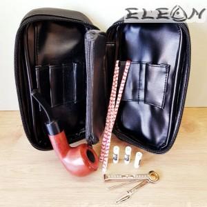 Подаръчен сет за лула от 6 части - лула, кожена чантичка с дръжка, отделение за тютюн, почистващ уред, тъпкачка, филтри
