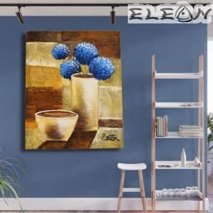 Картина за Стена, Ваза с цветя, 45х55см, Цветя 25, Маслени бои, Ръчно рисувана, Лорета Арт