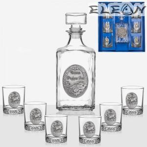 Комплект за уиски от 7 части, бутилка 1л с орнамент Честит Рожден Ден и 6 чаши Кораб, Artina DG023