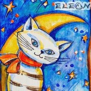Сувенир Картина - Коте и Луна, на дървена плочка, 20х10 см, Минов