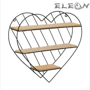 Етажерка Сърце на три нива, декоративен рафт от дърво и метал