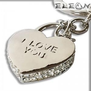 Ключодържател I LOVE YOU, Катинар с 60 циркона, Primus 27522