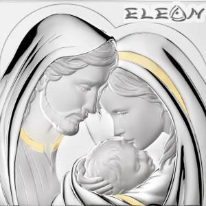 Икона Свето Семейство, голяма сребърна икона 925 с гръб дърво, 29х27см