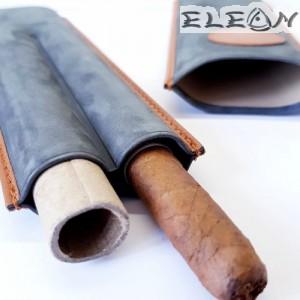 Калъф за пури Double Corona, побира 2 пури, естествена кожа, графит/кафяв, ZP009292