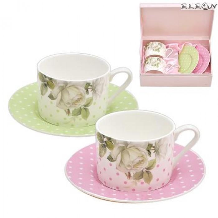 Чаша с чинийка  Lancaster класик - комплект 2 броя бяла роза/перла