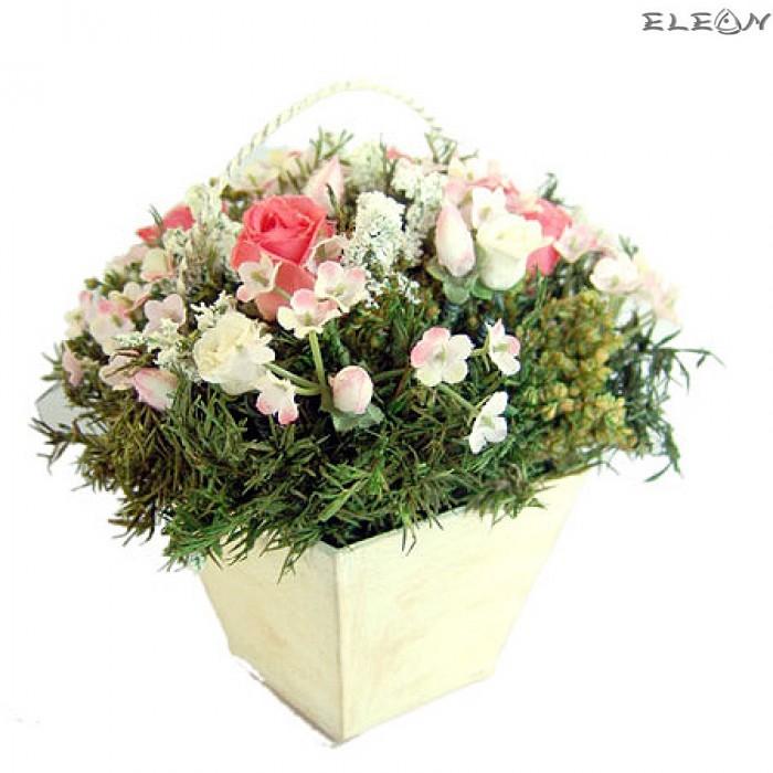 Кошничка с Декоративни Цветя DEL141 - 14см