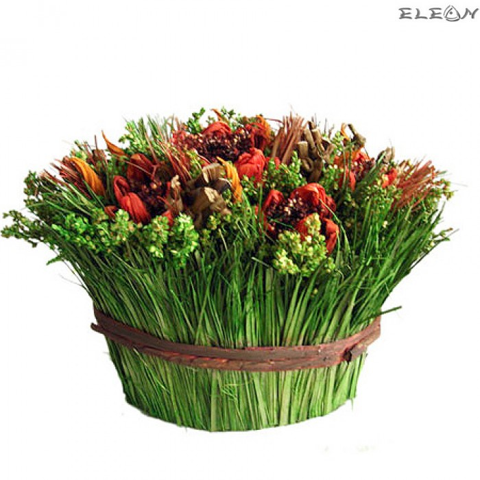 Кошничка с Декоративни Цветя оранж DEL146 - 19см