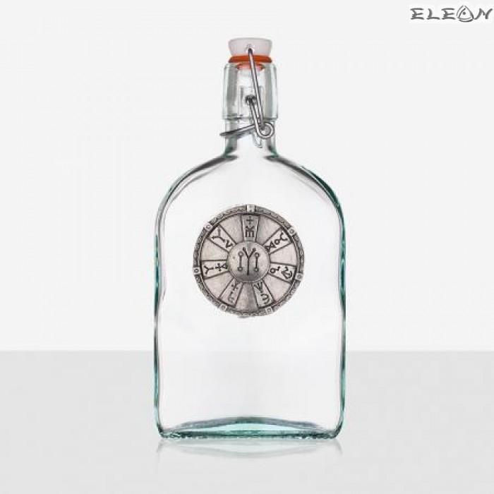 Стъклена Бутилка 500мл с тапа и гравирана плочка розета от Плиска