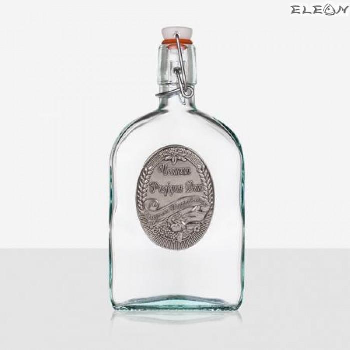 Стъклена Бутилка 500мл с тапа и гравирана плочка с надпис - Честит Рожден Ден