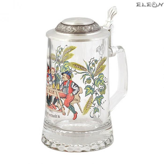 Уникална стъклена Халба за бира с цветна рисунка и капак - Наздраве
