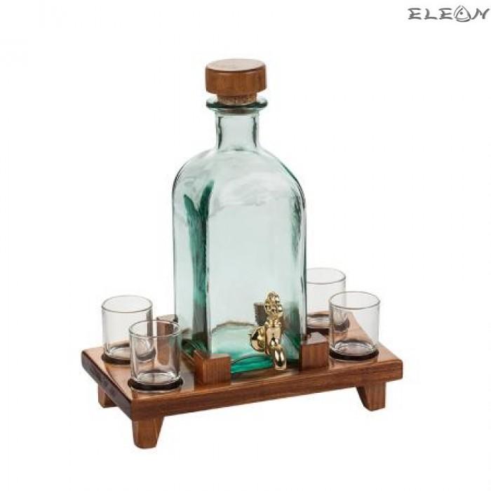 Стъклена Бутилка за алкохол с канелка, 4 чашки, на дървена поставка