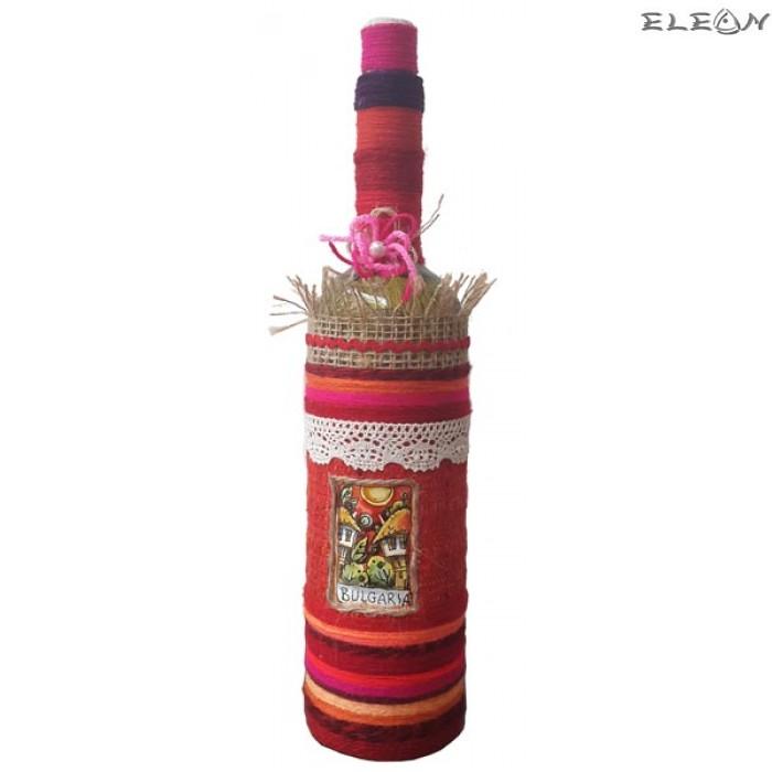 Ръчно декорирано стъклено шише за алкохол с тапа