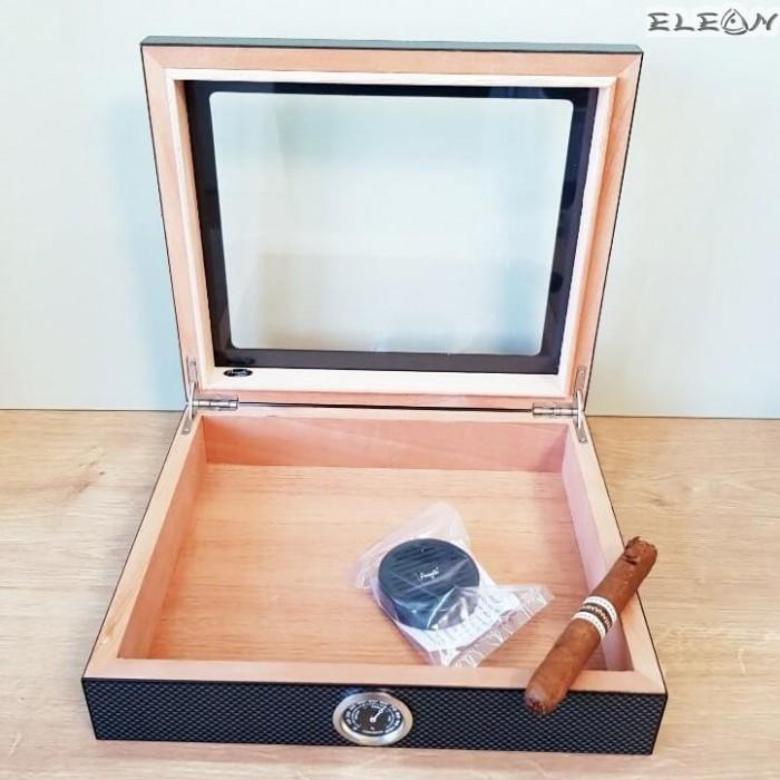 Кутия за пури цвят карбон с прозорец