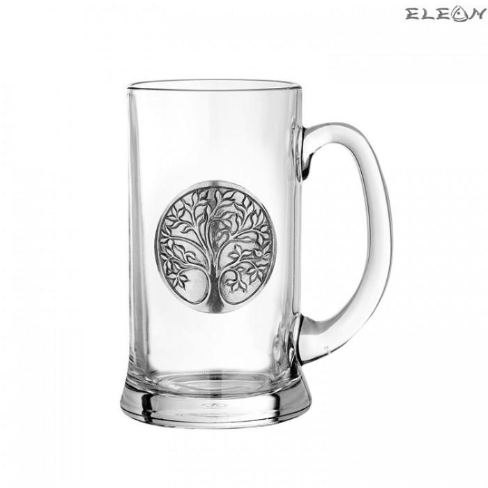 Халба за бира с метална гравюра - дървото на живота