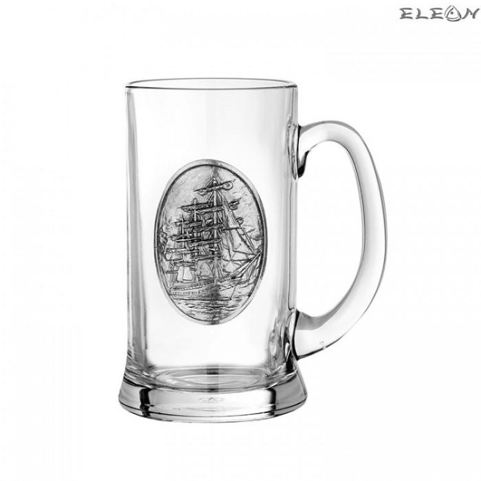 Халба за бира с метална гравюра - Кораб