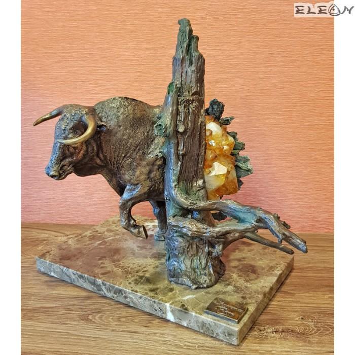 Нестандартна бронзова скулптура БИК с полускъпоценни камъни - 557214