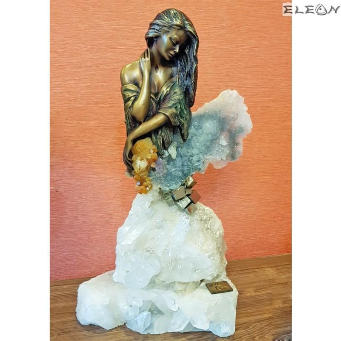 Изискана скулптура влюбена ЖЕНА изработена от бронз и планински кристал - 577097