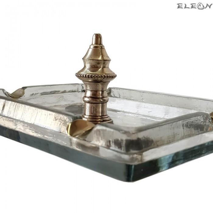 Античен Пепелник изработен от стъкло и пютър