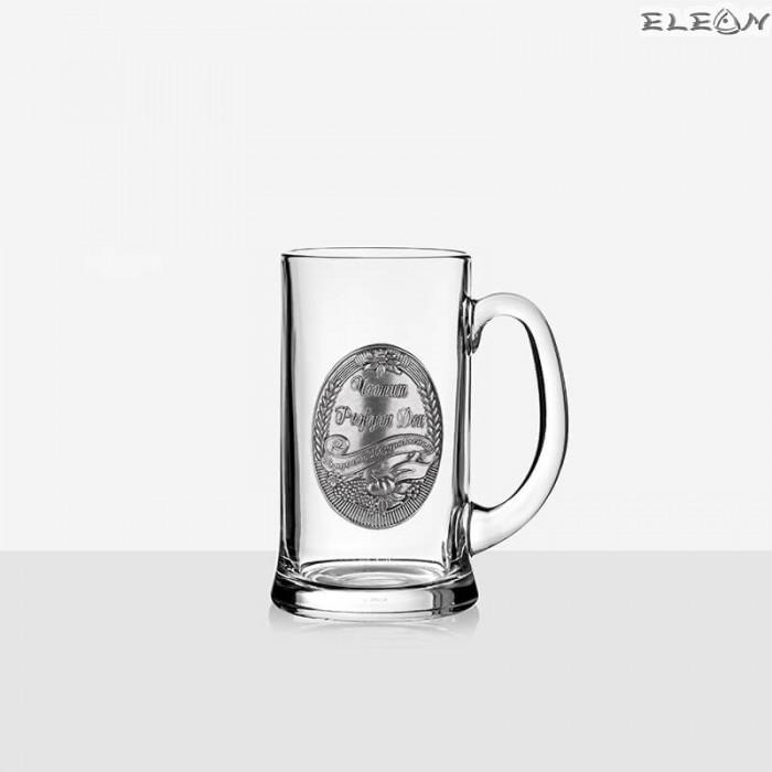 Стъклена Халба за бира 500мл с надпис  - Честит рожден ден