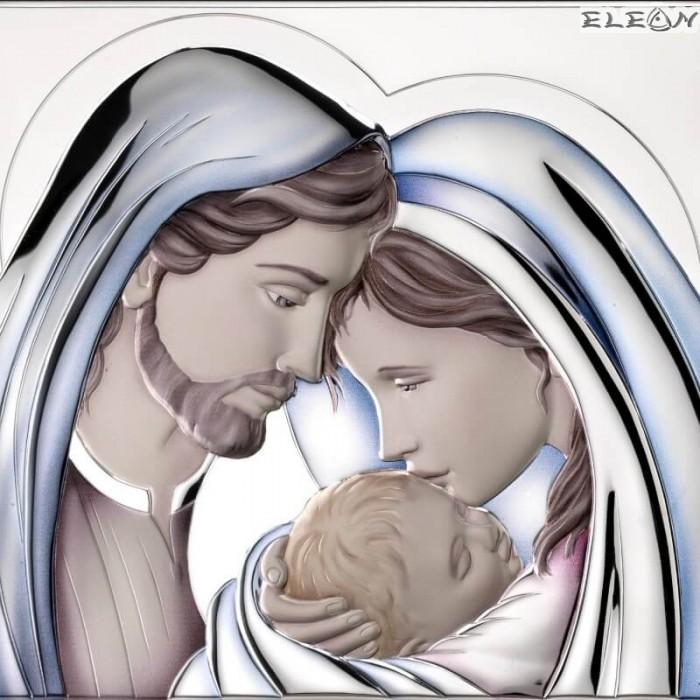 Сребърна Икона Свето Семейство, цветна