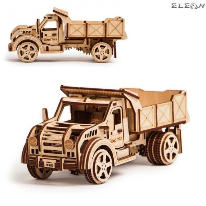 Дървен конструктор Камион 25см с подвижни части, увлекателен 3D дървен пъзел