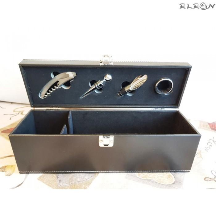 Изискана кожена кутия за 1 бутилка вино и 4бр луксозни аксесоари