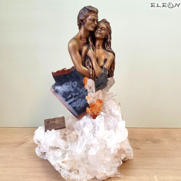 Скулптура Влюбени, 27см, бронз и полускъпоценни камъни,