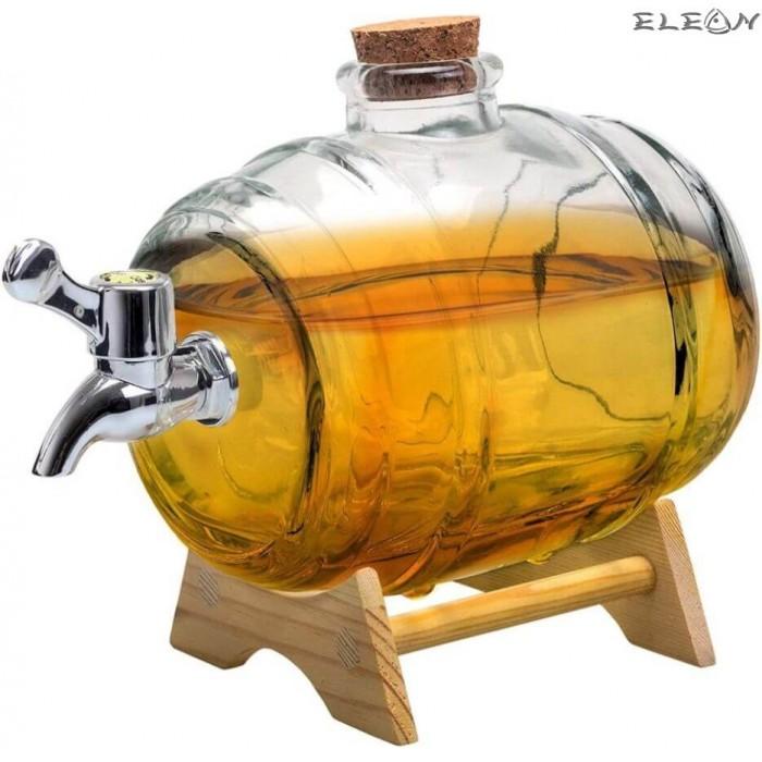 Стъклено Буре за алкохол с канелка на дървена поставка - 1 литър