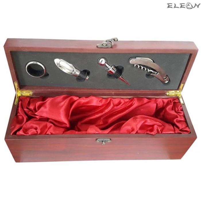 Луксозна дървена кутия за вино за 1 бутилка с аксесоари