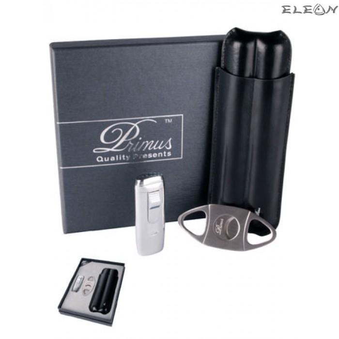 Луксозен комплект 3в1 Primus - Запалка, Кожен калъф, Резачка