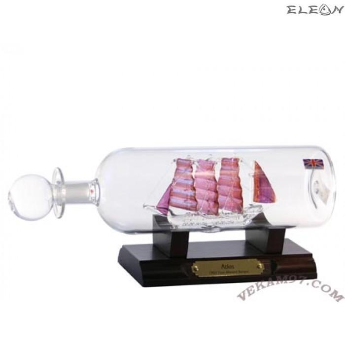 Кораб в бутилка със златни платна 065128 - ATLAS