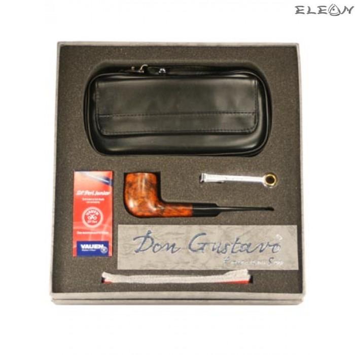 Луксозен подаръчен комплект от 5 части - лула, кожена чантичка, почистващ уред, тъпкачка, филтри