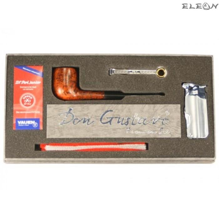 Луксозен подаръчен комплект от 5 части - лула, запалка, почистващ уред, тъпкачка, филтри