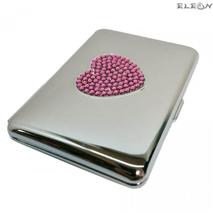 Табакера сърце, розови кристали Swarovski, 20бр*80мм цигари, 309830