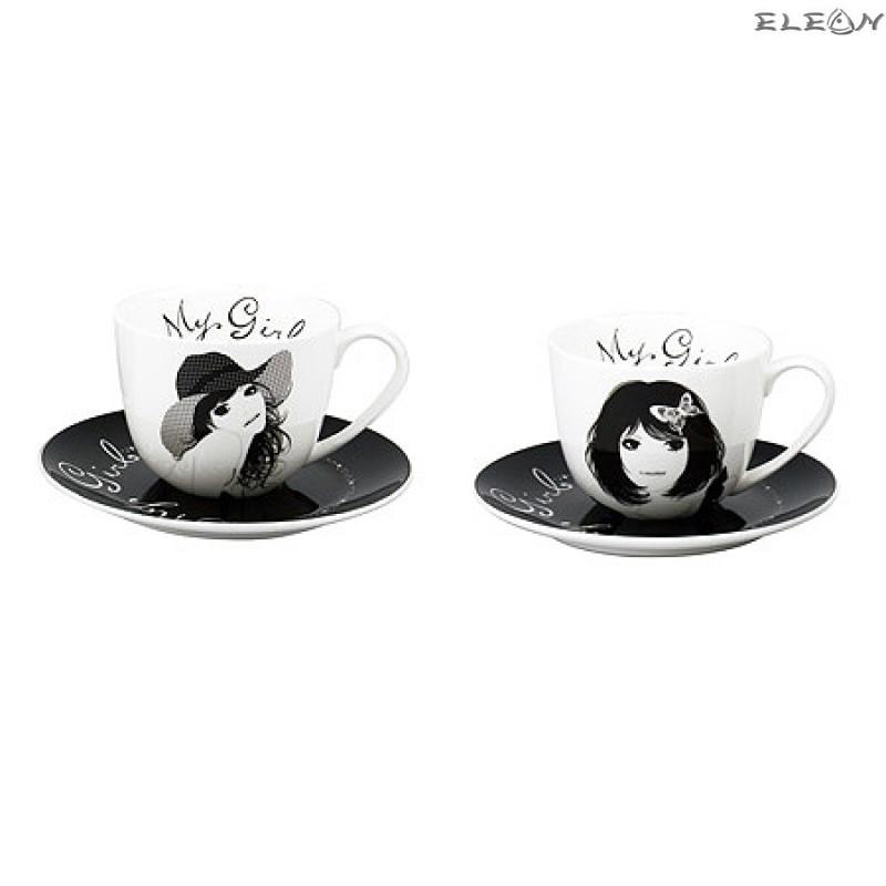Чаша за Кафе с чинийка  My Girl - комплект от фин порцелан 2 бр 972122D