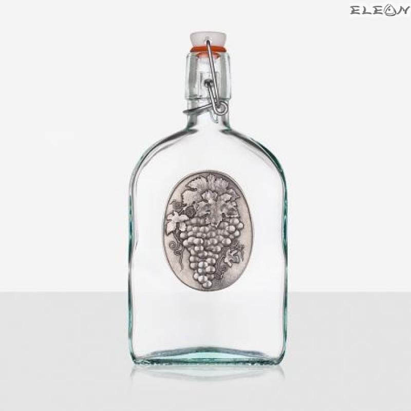 Стъклена Бутилка 500мл с тапа и гравирана плочка - Грозд