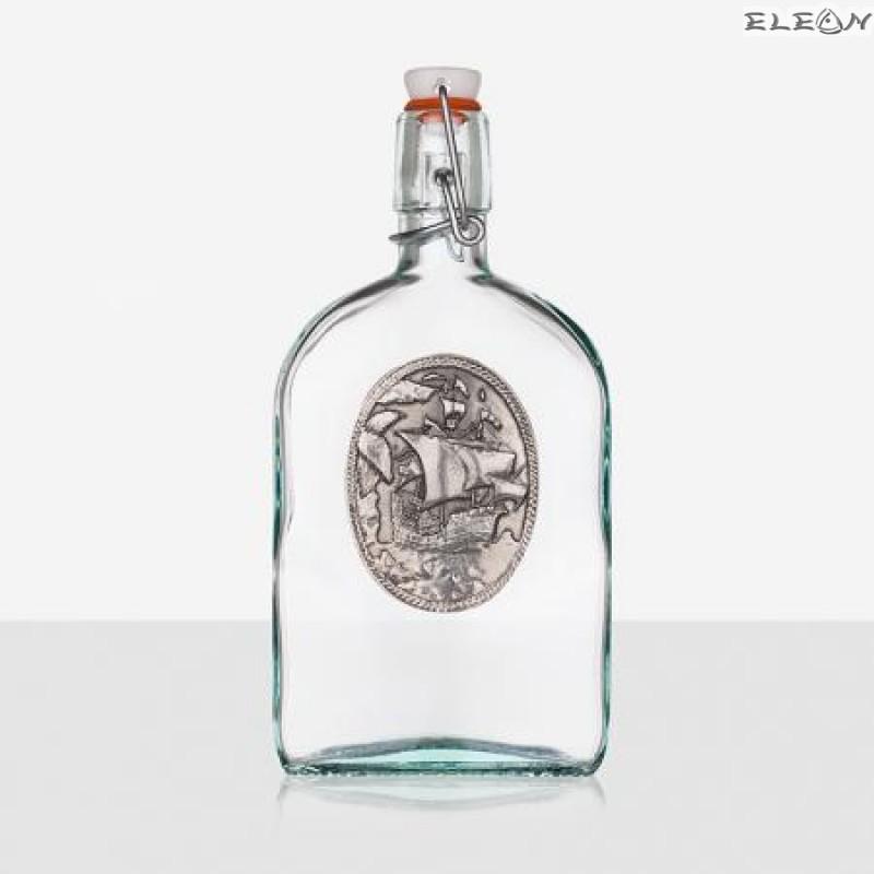 Стъклена Бутилка 500мл с тапа и гравирана плочка - Кораб