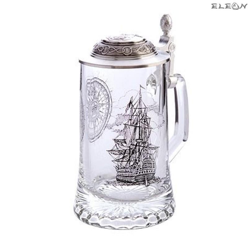 Стъклена Халба за бира с капак и рисунка Кораб
