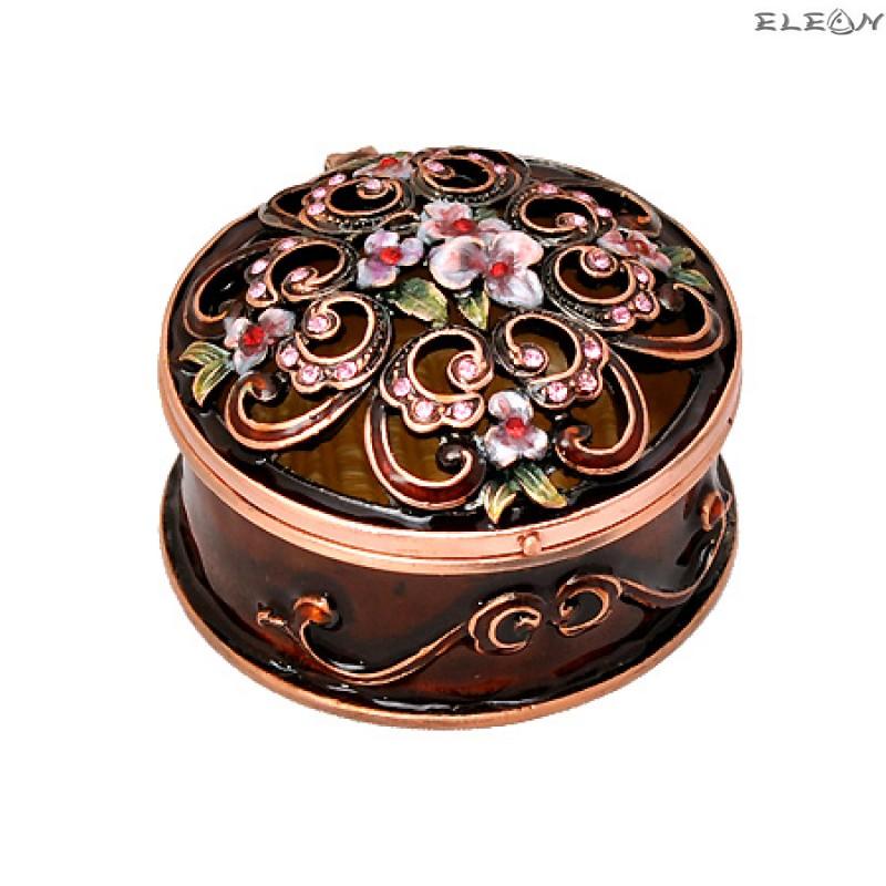 Кутия за бижута кръгла кафява JN0301