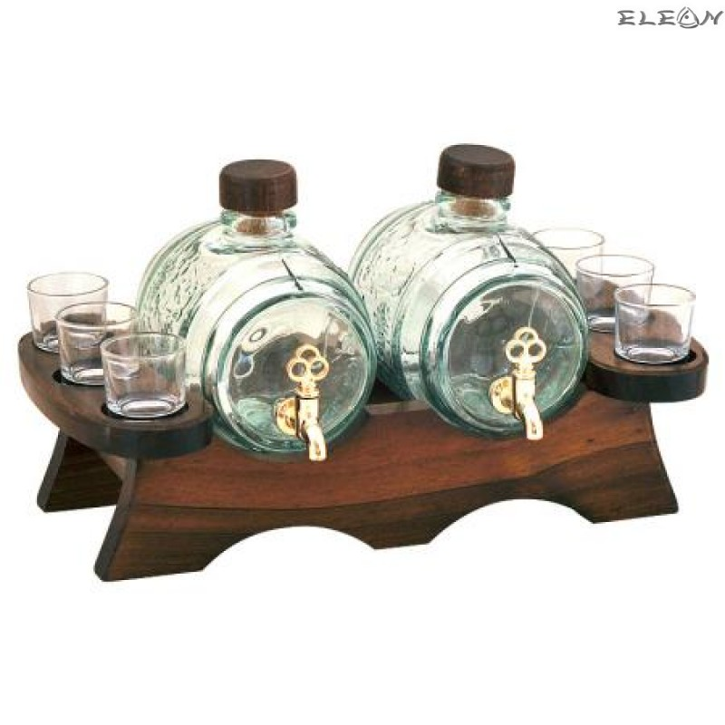 Стъклено Буре за алкохол с канелка 2бр, 6 чашки, на дървена поставка