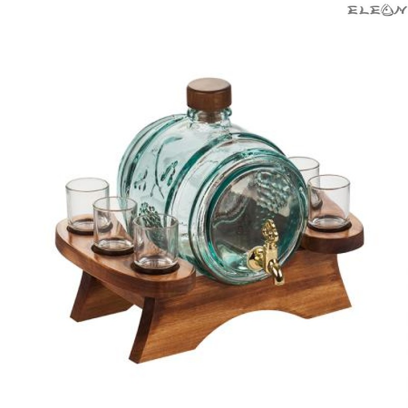 Стъклено Буре за алкохол с канелка, 6 чашки, на дървена поставка