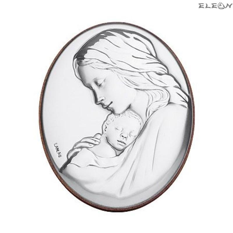 Сребърна Икона - Дева Мария с младенеца RG6524