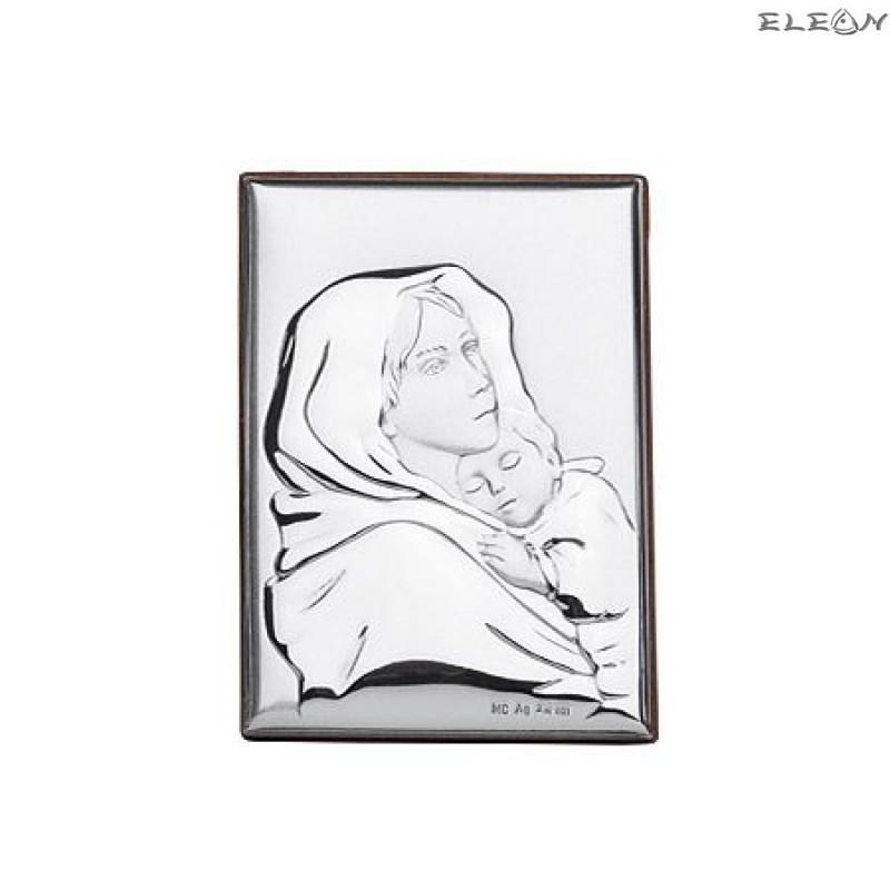 Сребърна Икона - Дева Мария с младенеца RG6526
