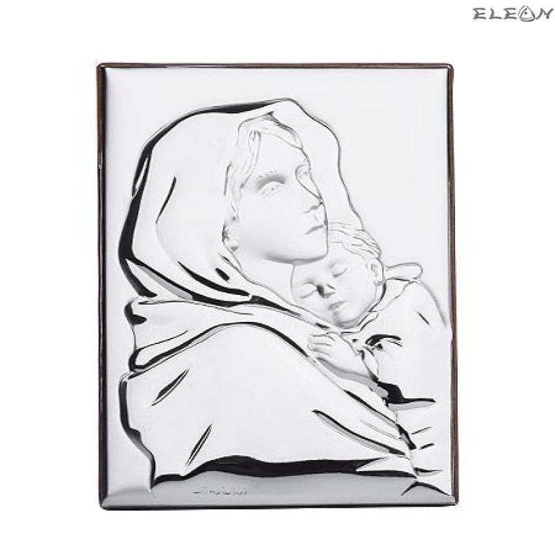 Сребърна Икона - Дева Мария с младенеца RG6527