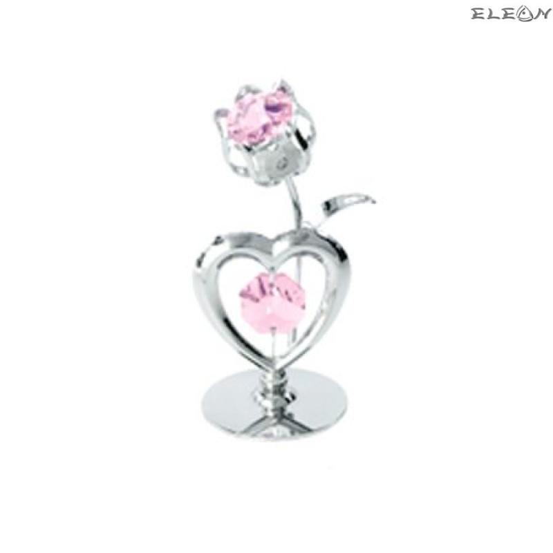 Crystocraft Сърце и лале сребро - Swarovski Crystal RY015