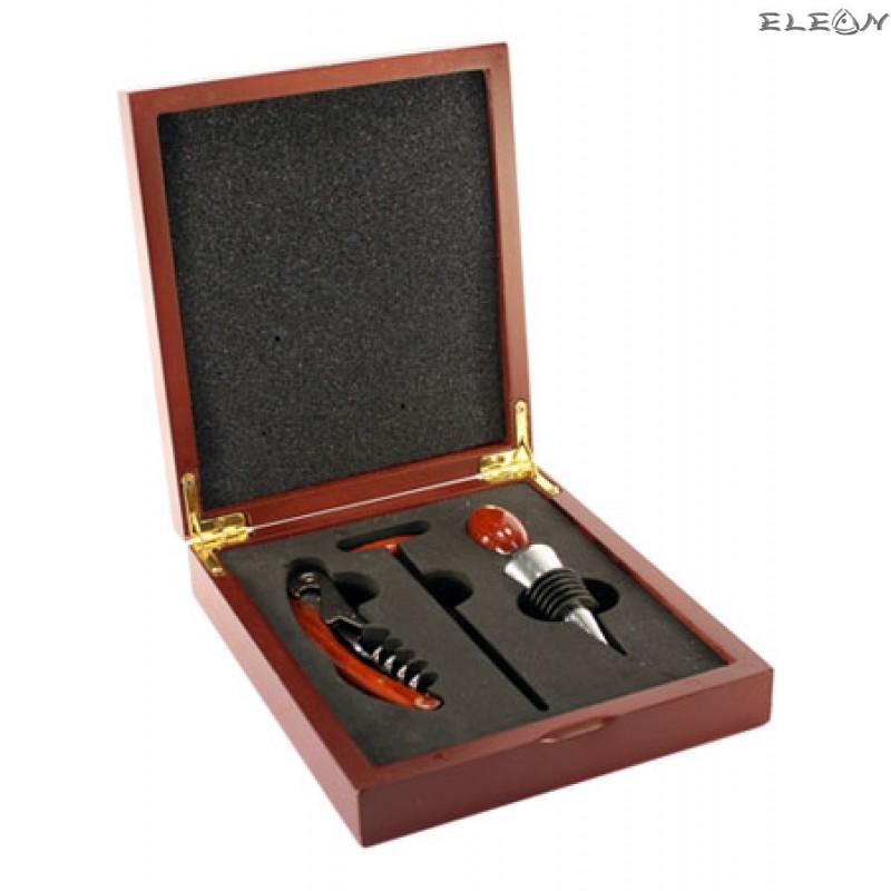 Комплект аксесоари за вино в дървена кутия - Бар сет 5212