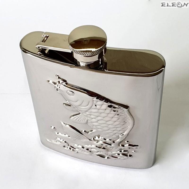 Джобна бутилка за алкохол 180ml релеф риба