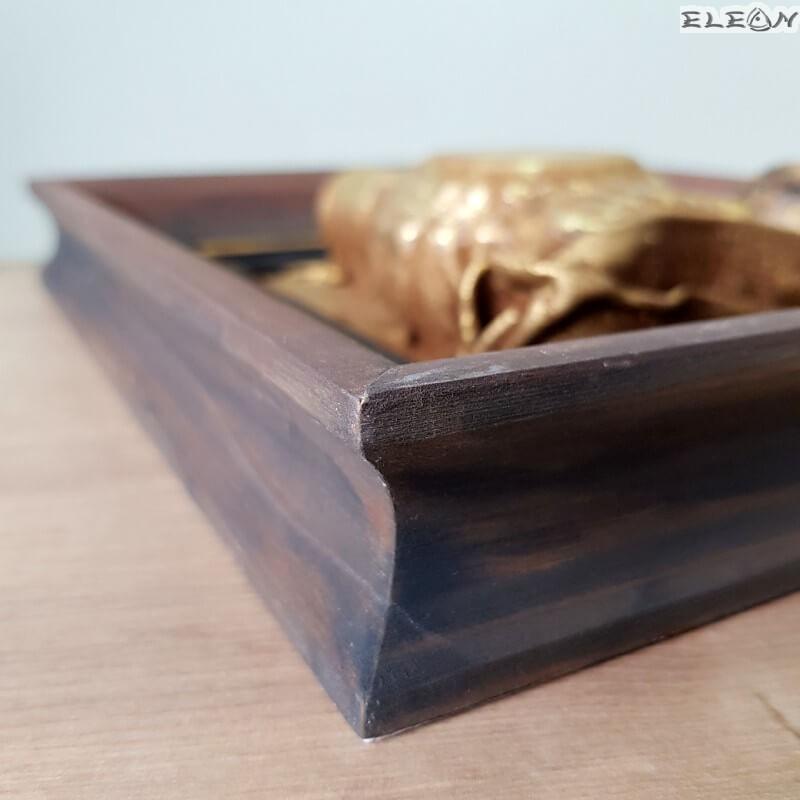 Кожено пано в дървена рамка - бъклица и кесийка