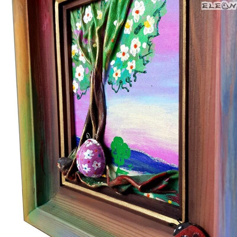 3D Картина Пролет - пано изработено от кожа