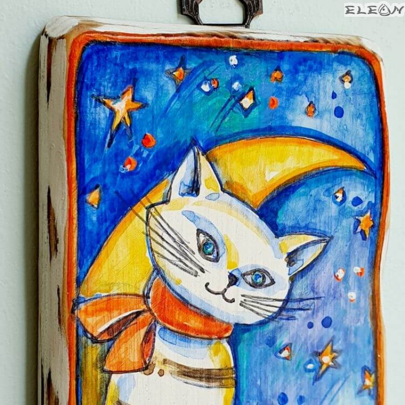 Сувенир Картина - Коте и Луна